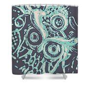 Nocturnal The Blue Owl Shower Curtain