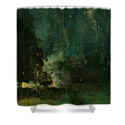 Nocturne In Black And Gold - The Falling Rocket Shower Curtain by James Abbott McNeill Whistler