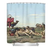 Nomads In The Desert Shower Curtain by Georges Washington