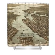 Norfolk And Portsmouth Map Shower Curtain