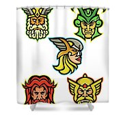 Norse Gods Mascot Collection Shower Curtain