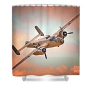 Pacific Princess North American B-25 Mitchell Across Rosy Skies Shower Curtain