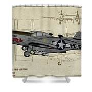 North American F-82b Twin Mustang - Profile Art Shower Curtain