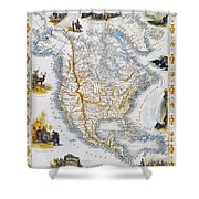 North American Map, 1851 Shower Curtain