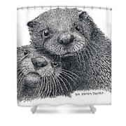North American River Otters Shower Curtain