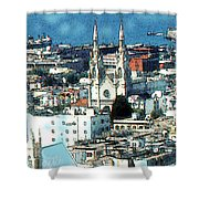 North Beach San Francisco - Watercolor Shower Curtain