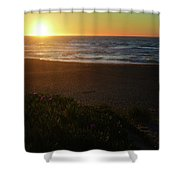 North Beach Sunset Shower Curtain