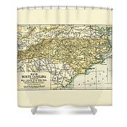 North Carolina Antique Map 1891 Shower Curtain