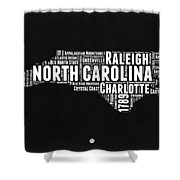North Carolina Black And White Word Cloud Map Shower Curtain
