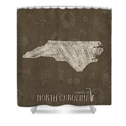 North Carolina Map Music Notes 3 Shower Curtain