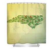 North Carolina Map Square Cities Straight Pin Vintage Shower Curtain