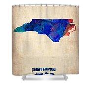 North Carolina Watercolor Map Shower Curtain