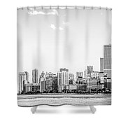 North Chicago Skyline Panorama In Black And White Shower Curtain
