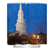 North Church At Twilight, Portsmouth, New Hampshire Shower Curtain