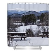North Conway Winter Mountains Shower Curtain