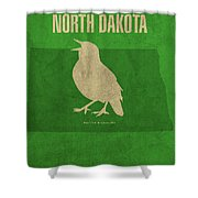 North Dakota State Facts Minimalist Movie Poster Art Shower Curtain