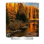 North Fork Yaak River Fall Colors #1 Shower Curtain