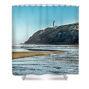 North Head Lighthouse With The Morning Light Shower Curtain
