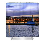 North Pier Evening Shower Curtain