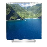 North Shore Cliff Coast Line Shower Curtain