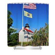North Wind At East Point Light Shower Curtain