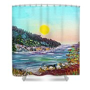 North With Yellow Sun Shower Curtain