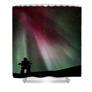 Northern Lights Above An Inukchuk In Saskatchewan Shower Curtain