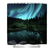Northern Lights Over Lily Pond Shower Curtain