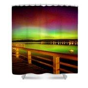 Northern Lights Over Okanagan Lake Canada Shower Curtain