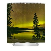 Northern Lights Over The Pines Shower Curtain