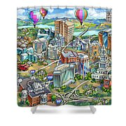 Northern Virginia Map Illustration Shower Curtain