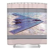 Northrop Grumman B-2 Spirit Stealth Bomber Enhanced With Double Border II Shower Curtain