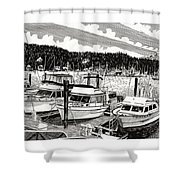 Gig Harbor Yacht Moorage Shower Curtain