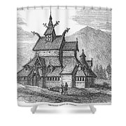 Norway: Borgund Church Shower Curtain
