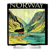 Norway Orient Cruises, Vintage Travel Poster Shower Curtain