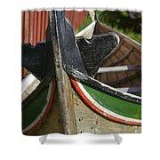 Norway, Reine, Boat In Fishing Village Shower Curtain