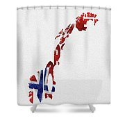 Norway Typographic Map Flag Shower Curtain