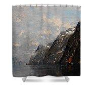 Norwegian Fjord Landscape Shower Curtain