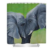 Nose To Nose In Green Shower Curtain