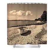 Nostalgia Boat On Beach Shower Curtain