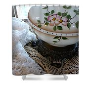 Nostalgia - Old Lace And Lamp Base Shower Curtain
