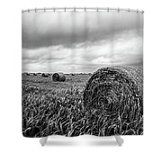 Nostalgia - Hay Bales In Field In Black And White Shower Curtain