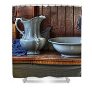 Nostalgia Wash Stand Shower Curtain by Bob Christopher