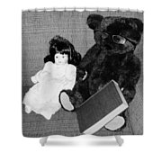 Nostalgic Doll And Bear With Reading Book Shower Curtain