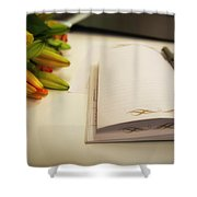 Notebook And Pen Shower Curtain