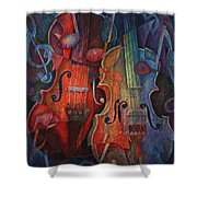 Noteworthy - A Viola Duo Shower Curtain by Susanne Clark