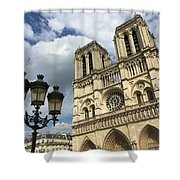Notre Dame And Lamppost Shower Curtain