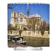Notre Dame And The Seine Painterly Shower Curtain
