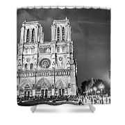 Notre Dame B/w Shower Curtain