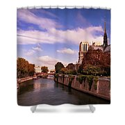 Notre Dame Cathedral And The River Seine - Paris Shower Curtain